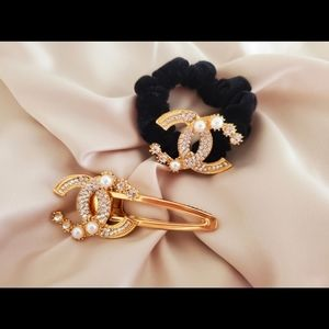 Marching chanel 2 piece hair accessories
